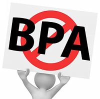Illustration of person holding up No BPA sign