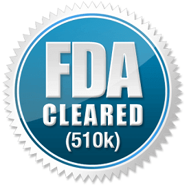 FDA 510k cleared badge silver and blue