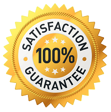 100% satisfaction guarantee badge gold with black and white lettering