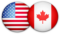 Two circles, one with the Canadian Flag one with USA Flag indicating made in USA & Canada