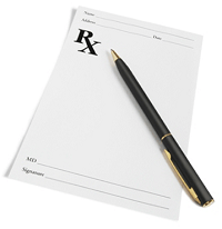 Blank prescription pad with pen laying on top