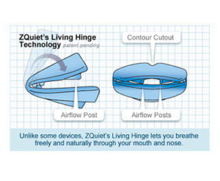 Illustration showing how zQuiet's living hinge technology works