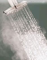 Taking a hot shower