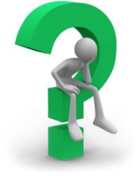 illustration of person pondering on top of question mark