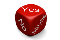 Decision dice with yes, no, and maybe shown