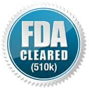 FDA 510K cleared logo in blue and silver