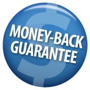 Blue money-back guarantee button