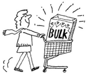 Animation of lady pushing shopping cart and a bulk box