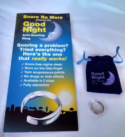 Snore No More Good Night Anti-snoring Ring with packaging and storage case