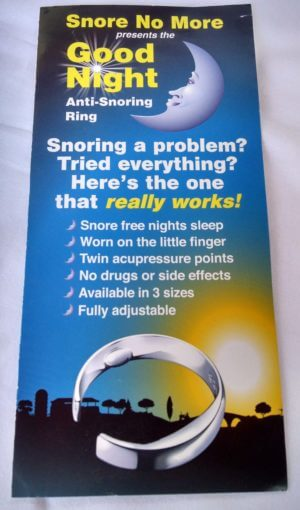 Good night snore ring pamphlet