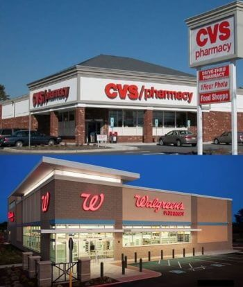 Storefront of CVS and Walgreens stores