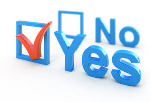 Words Yes and No with check boxes. Yes is checked.