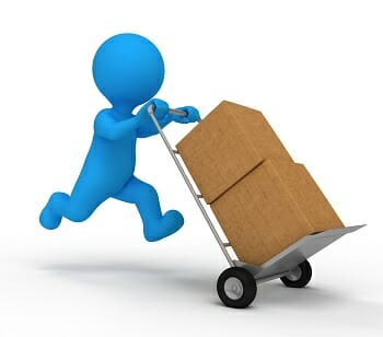 Person delivering packages on dolly