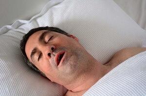 Fat man snoring